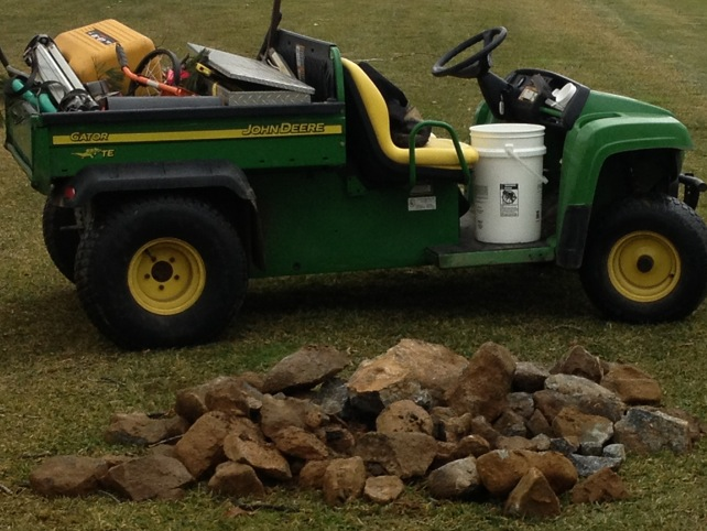 Here is all the rock that we removed from 3 South fairway while the drainage was being installed.